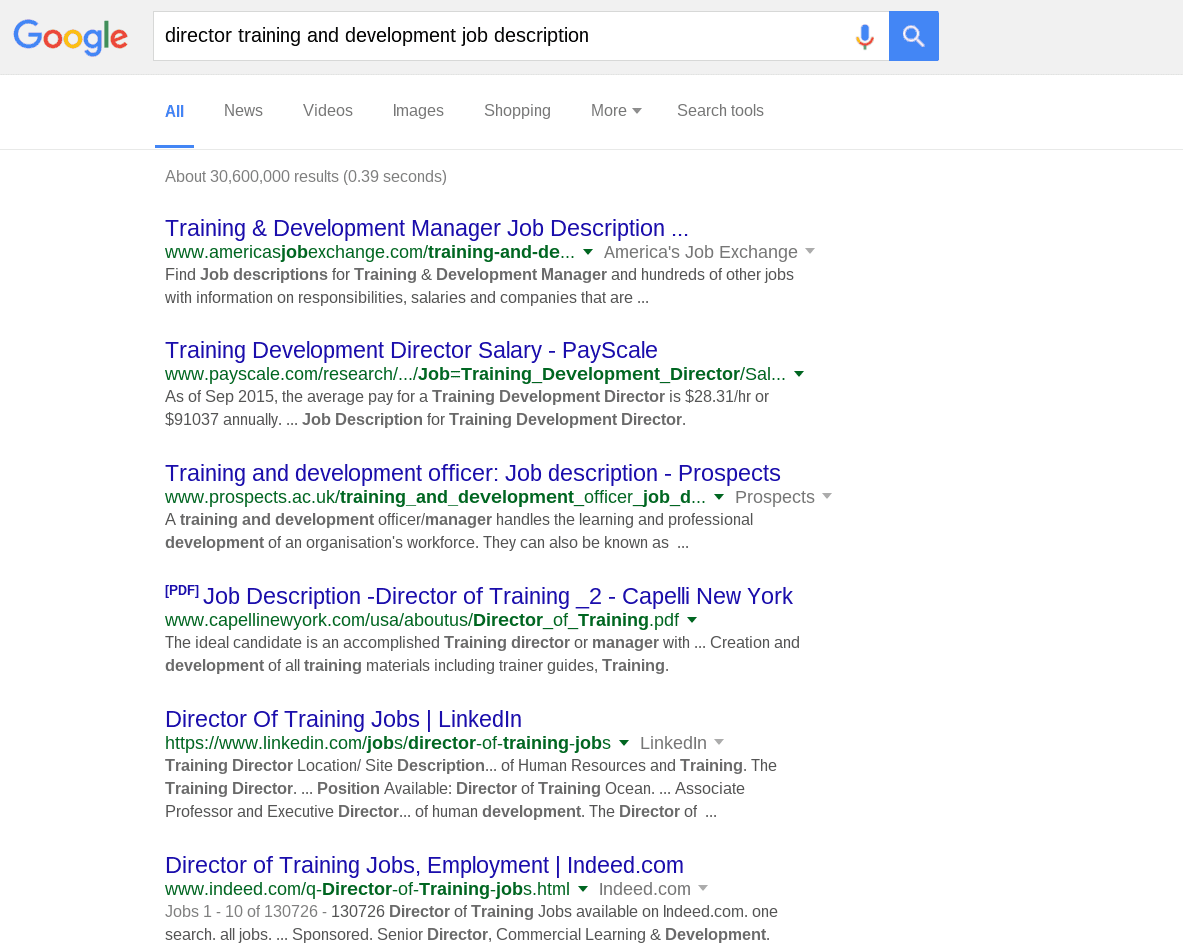 Resume keywords and power verbs results for director training and development job description