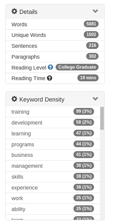 resume keywords and power verbs density panel